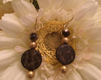 Mother of Pearl Earrings with Gold Plated Beads, Wooden Beads and 14K Gold Filled Wire