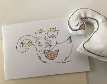 "Folded card swan for girl ""Choumi et Michou on a swan"""
