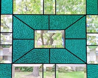 Stained Glass Tiffany Style Textured Teal and Beveled  Handcrafted Panel