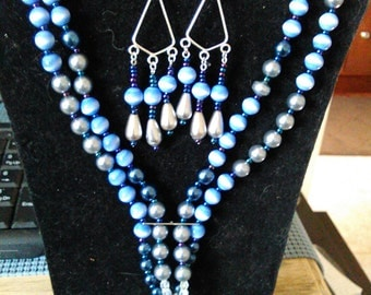 Beaded necklace, extra long, glass pearls, catseye, set,  dressy neck wear