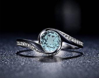 Aquamarine Engagement Ring 14k White Gold Round Aquamarine Ring Curved Engagement Ring Proposal Ring March Birthstone