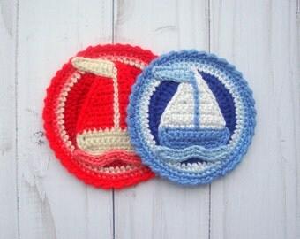 APPLIQUE CROCHET - Crochet Pattern Applique - Crochet Applique Pattern - Crochet Applique- Crochet Sailboat Crochet Sailboat Applique