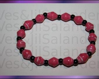 Paper Bead Bracelet Pink Lady #223