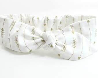 Gold Arrow headband, baby topknot, knotted headband, baby headband, baby headband bows, white and metallic gold arrows headband