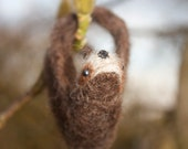 Super Cute Sloth Needle Felted Ornament Brown Sloths Decoration Gift
