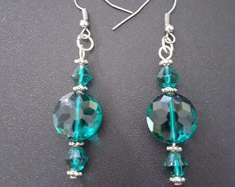 Teal Green crystal beaded drop dangle earrings with silver detail