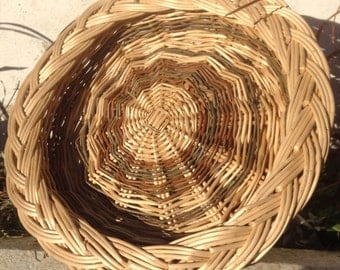 White and brown willow basket with plaited border