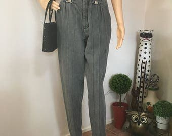 80s High-waisted Grey Gray Mum Mom Jeans Punk Grunge Hip Hop Pocketless M L Medium Large