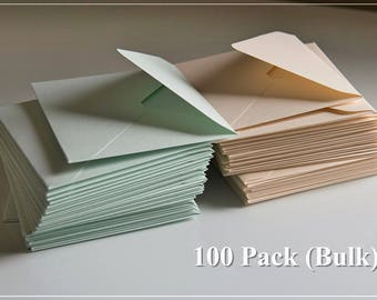 100 Medium Envelopes (Bulk) - Pastel - Mini Envelopes/Gift Cards/Small Envelopes/Guestbook Envelopes/Personal Messages/Business Cards