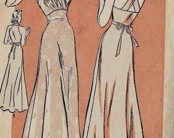 Vintage 1930's Sewing Pattern Slinky Night Gown Lingerie Film Glamour Night Wear WW2