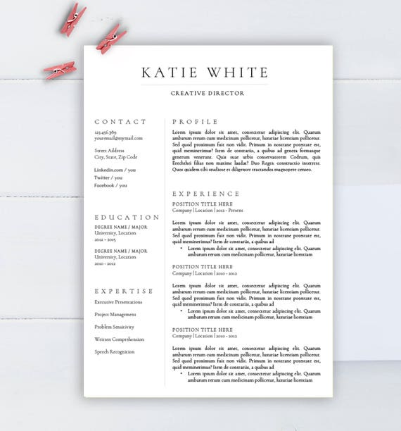 Minimalist Resume Template, CV Template For Word, Two Pages Resume,  Professional Resume, Modern Resume, Resume Instant Download  Minimalist Resume Template