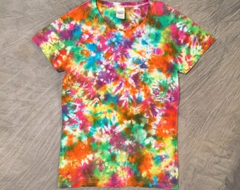 Colorful T shirt, Women's Small, Cute Tie-Dye Shirt, Wearable Art, Colorful Tye dye, Teen T Shirt, Bright T-shirt, Cute Spring Top, G0517197