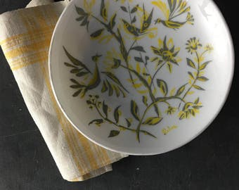 floral white glass bowl
