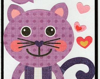 Cat Love Valentine Paper Piecing Premade Scrapbook Card