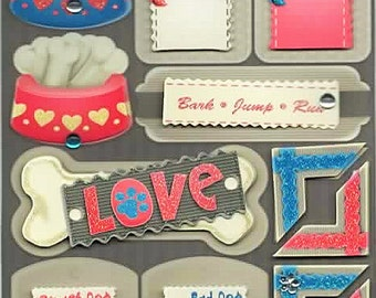 Dog Vivid Glitter W/ Gems Stickers Forever In Time Scrapbook Embellishments Cardmaking Crafts