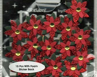 Poinsettia Christmas Glitter Foam Scrapbook Stickers Petaloo Embellishments Cardmaking Crafts