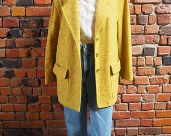 Women's 80s Karl Lagerfeld Designer Yellow 100% Wool Coat Jacket Long Blazer With Gold Buttons Size US 10