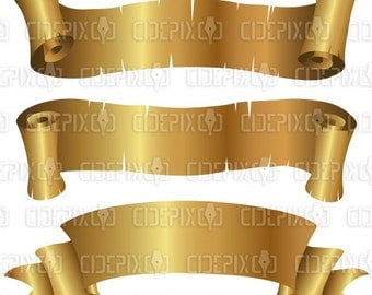 Clip Art Vector Illustration of Curly Golden Banners Set isolated on a white background
