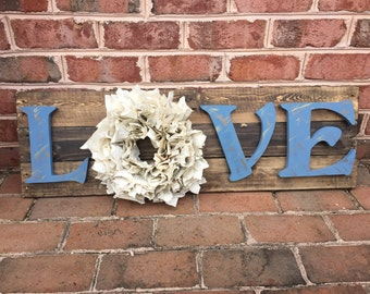 Love Sign With Book Wreath- Free Shipping!