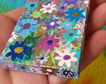 Floral Daydreams, Original, Small, Acrylic Painting on 2 x 3 inch canvas