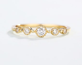 Delicate Diamond wedding ring Round Bezel set Dainty engagement ring Small stackable Stacking Milgrain Promise Alternative Lucky Anniversary