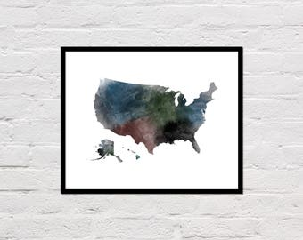United States Map Print, Printable United States Map, United States Art Print, United States Wall Art, Watercolor Map, United States Poster