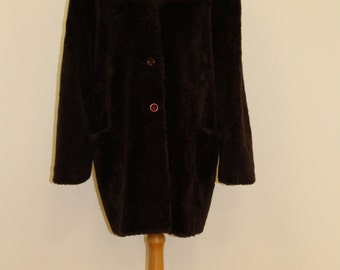 Button Down Simulated Fur Coat (Brown)