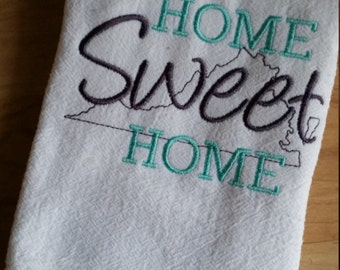 Home Sweet Home Farmhouse Style Kitchen towel - Home Sweet Home State image- large kitchen flour sack towel - Trendy Farmhouse Decor