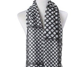 Polka Dot Black White Scarf / Cotton Scarf / Summer Scarf / Spring Scarf / Gift for her / Women Scarf / Fashion Accessories