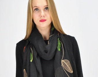 Leaf Jet Black Scarf / Spring Scarf / Summer Autumn Scarf / Womens Scarves / Gift for her / Large Scarf / Fashion Accessories