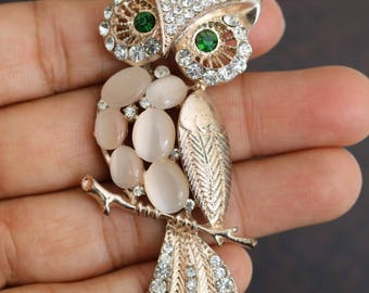 Owl Necklace, Owl Pendant with Rhinestone Crystals and Stones, Owl Pendant with Long Chain, Owl Gifts for Her, Golden Owl Jewelry, Jewellery