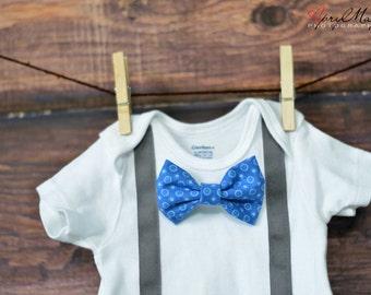 Bow Tie Onesie and Suspenders, Bow Tie, Suspenders, first birthday outfit, nerd baby, tie onesie, birthday outfit, snap on, bow tie baby, 1