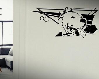 SALE American Pitbull - Dog Puppy wall vinyl decals stickers DIY Art Decor Bedroom