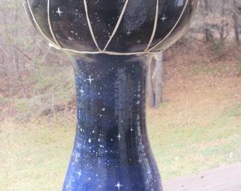 Stoneware Ceramic Doumbek Drum with Detailed Twilight Night Sky and Star Design