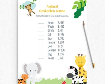 Baby Shower Game - Animal Gestation - Animals Safari - Printable