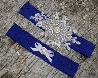 Bridal garter set/blue garter/keepsake garter/Rhinestone garter/Lace garter/Prom garter/royal blue garter set/blue garter/something blue