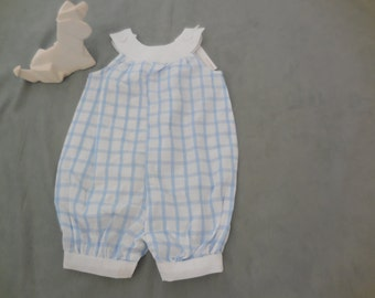 classic baby blue and white bloomers, one of a kind, 0-3 months