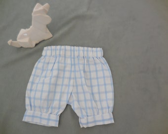 one of a kind cuffed bloomers, Newborn, baby blue and white check cotton