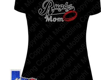 Rugby Mom Rhinestone Bling T-Shirt or DIY Transfer Only