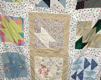 Handmade patchwork quilt with fleece lining - 130 x 100 cm