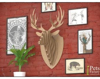 DEER HEAD Trophy hunting head animal Wall 3D Puzzle Cardboard DIY Kit Paper recycled sculptur animal wall decor  Diy kit original