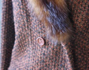 vintage | 1960s | fur trim | jacket | wool | Estex Creations | black | brown | box fit