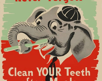 Dental Hygiene Poster  - New Zealand mid century vintage health poster
