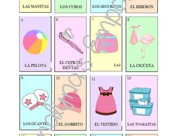 Baby Shower Loteria (Baby Shower Bingo) - Pink