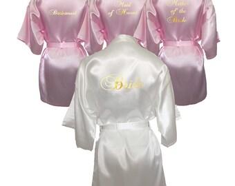 Set of 4 Robes, Set of 4 Bridal Robes, Set of 4 Kimono Robes, Bridesmaid Robes, Maid of Honour Robes, White and Pink Set, Satin Robe Set