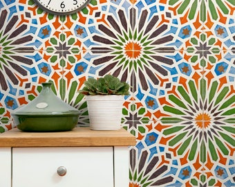 Moroccan Wallpaper Temporary, Lisbon Azulejo Tempoarary Wallpaper, Tiles Moroccan Wallpaper, Tiles Temporary Wallpaper