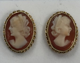 14kt Yellow Gold Lady's Oval Vintage Cameo Earrings