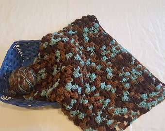 Hand Made Crochet baby blanket in the color of (Red Heart brand) Earth & Sky
