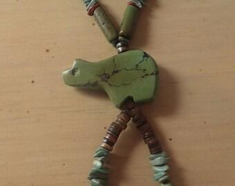 Genuine Sonoran Turquoise Bear Pendant Necklace
