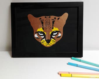 "Papercut hand-cut Margay 8.26"" x 10.62"""